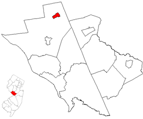 Hopewell highlighted in Mercer County. Inset map: Mercer County highlighted in the State of New Jersey.