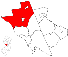 Location of Hopewell Township in Mercer County. Inset: Location of Mercer County highlighted in the state of New Jersey