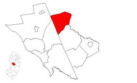 Princeton highlighted in Mercer County. Inset map: Mercer County highlighted in the State of New Jersey.