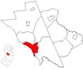 Location of Trenton inside of Mercer County. Inset: Location of Mercer County highlighted in the State of New Jersey.