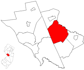 West Windsor Township highlighted in Mercer County. Inset map: Mercer County highlighted in the State of New Jersey.