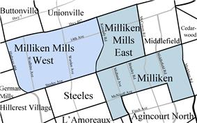 Map highlighting Milliken, Milliken Mills West, and Milliken Mills East.