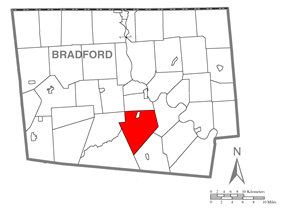 Map of Bradford County with Monroe Township highlighted
