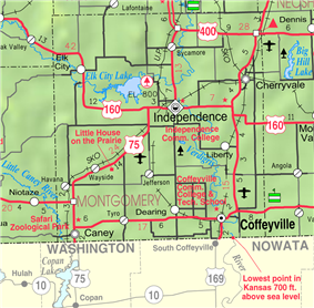 KDOT map of Montgomery County (legend)