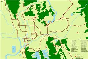 Map of Mrauk U with main temples