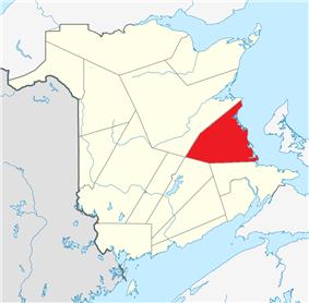 Location within New Brunswick.