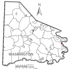 Location of North Charleroi in Washington County