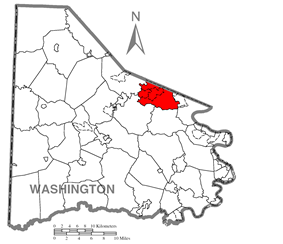 Map of Washington County, Pennsylvania highlighting Peters Township