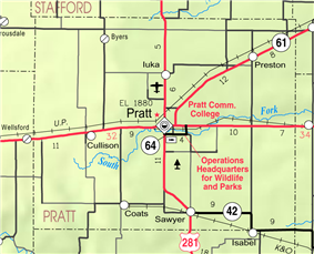 KDOT map of Pratt County (legend)