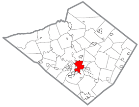 Reading's location in Berks County