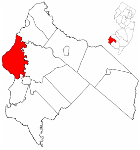 Pennsville Township highlighted in Salem County. Inset map: Salem County highlighted in the State of New Jersey.