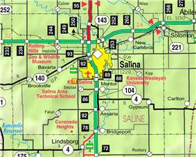 KDOT map of Saline County (legend)