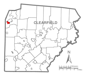 Location of Sandy in Clearfield County
