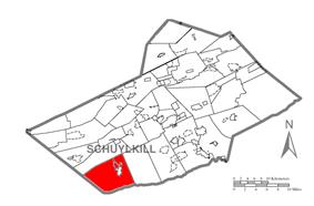 Map of Schuylkill County, Pennsylvania Highlighting Pine Grove Township