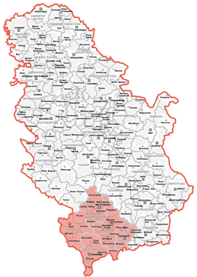 Location and extent of the Autonomous Province of Kosovo and Metohija (red) within Serbia.