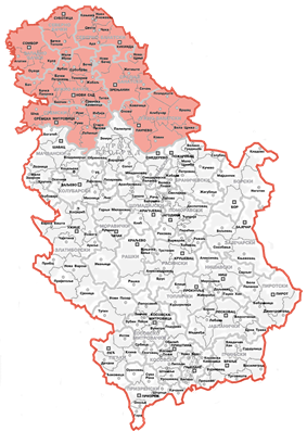 Location and extent of the Autonomous Province of Vojvodina (red) within Serbia..