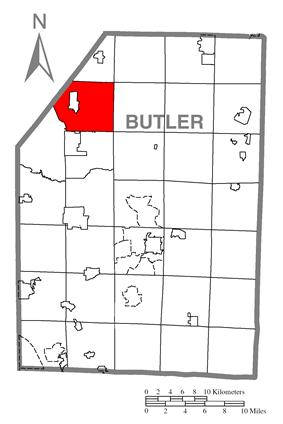 Map of Butler County, Pennsylvania highlighting Slippery Rock Township