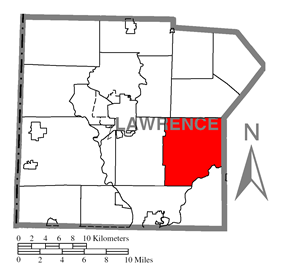 Location of Slippery Rock Township in Lawrence County