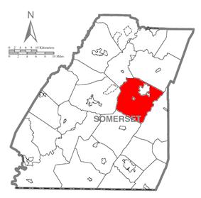 Map of Somerset County, Pennsylvania Highlighting Stonycreek Township