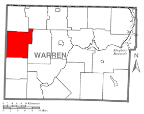 Location of Spring Creek Township in Warren County