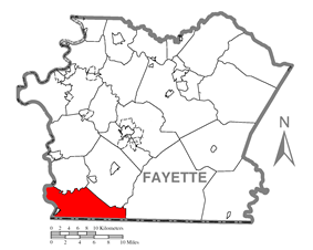 Location of Springhill Township in Fayette County