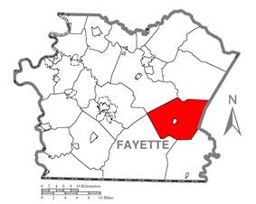 Location of Stewart Township in Fayette County