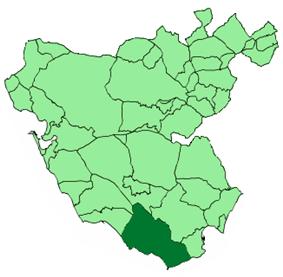Location in the province of Cádiz