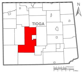 Map of Tioga County Highlighting Delmar Township