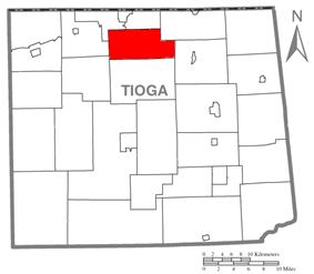 Map of Tioga County Highlighting Farmington Township