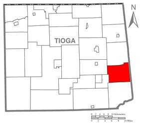 Map of Tioga County Highlighting Ward Township