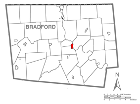Map of Bradford County with Towanda highlighted