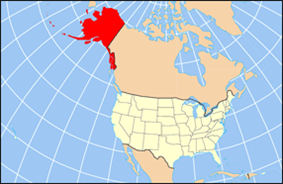 Map of the United States highlighting Alaska