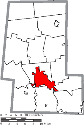 Location of Marysville in Union County