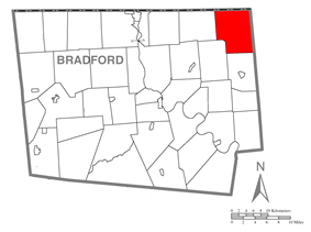 Map of Bradford County with Warren Township highlighted
