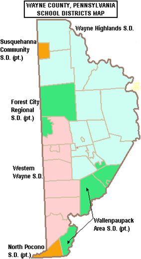 Map of Wayne County's school districts, colored in dark green, light green, orange, and red, and labeled by district. Text across the top reads