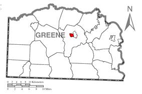Location of Waynesburg in Greene County