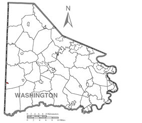 Location of West Alexander in Washington County