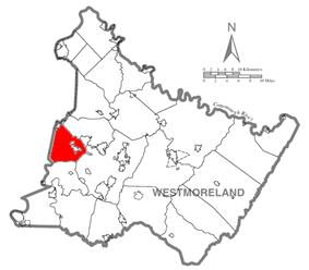 Map of Westmoreland County, Pennsylvania Highlighting North Huntingdon Township