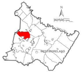 Map of Westmoreland County, Pennsylvania Highlighting Penn Township
