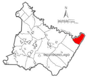 Map of Westmoreland County, Pennsylvania Highlighting St. Clair Township