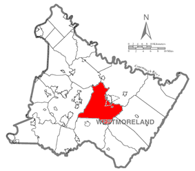 Map of Westmoreland County, Pennsylvania Highlighting Unity Township
