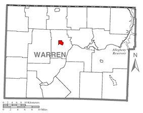 Location of Youngsville in Warren County