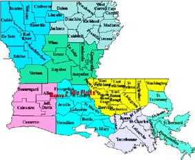 Southwest Louisiana subregion highlighted in pink.