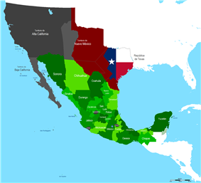 Map of Mexico boundaries of 1840