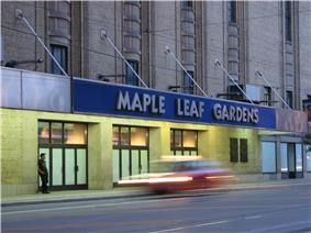 Exterior view of main entrance and marquee of Maple Leaf Gardens