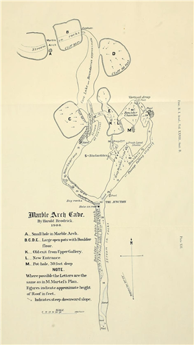Hand-drawn map of a cave, showing meandering underground river passage as well as surface topography including large shakeholes.