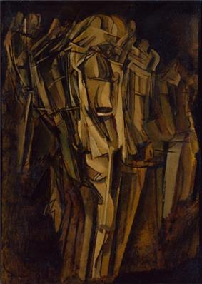 Marcel Duchamp, 1911-12, Nude (Study), Sad Young Man on a Train (Nu -esquisse-, jeune homme triste dans un train), Peggy Guggenheim Collection, Venice.jpg