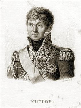 Black and white print of a curly-haired man with a round face. He wears an elaborate dark military uniform with a high collar, epaulettes, and lots of braid.