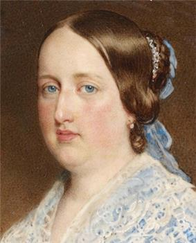 Painting showing the head and shoulders of a young woman wearing a lacey blue dress with auburn hair pulled back