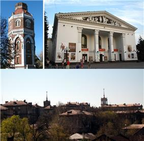 Old Fire Tower, Mariupol City Theater, Skyline